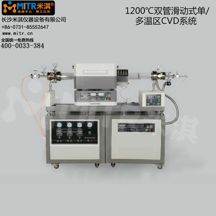 1200°C双管滑动式单/多温区CVD系统